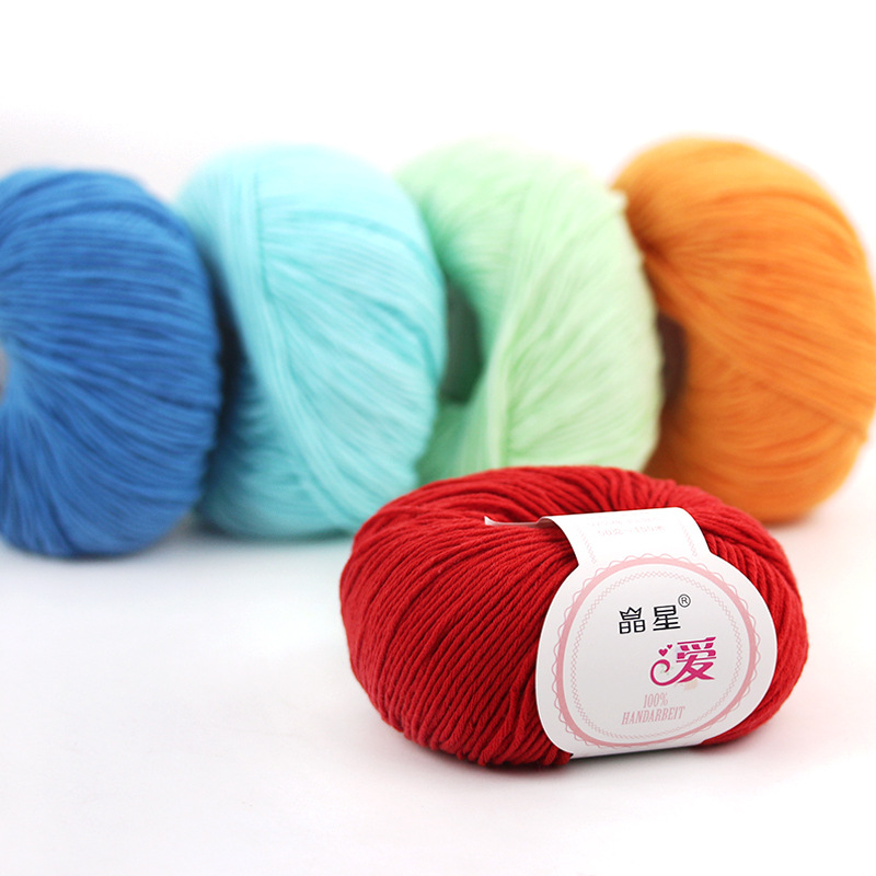 JINGXING Crystal Star Cotton Thread Medium Thick Crochet Thread DIY Hand Knitted Yarn