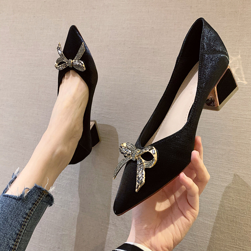 Pointed toe autumn new ladies single shoes shallow mouth bow thick heel high heels women all-match s