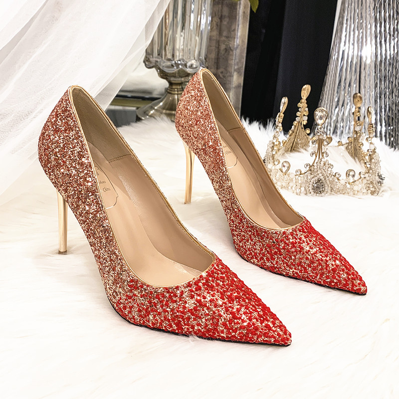 ANNAILI Wedding shoes women 2020 new sequined high heels pointed stiletto gold crystal shoes dress r