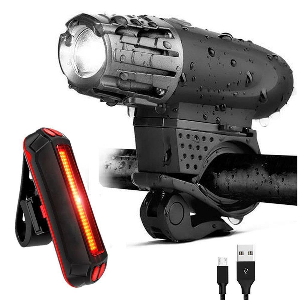 Set Đèn xe đạp USB có thể sạc lại gồm Đèn phía trước + Đèn hậu