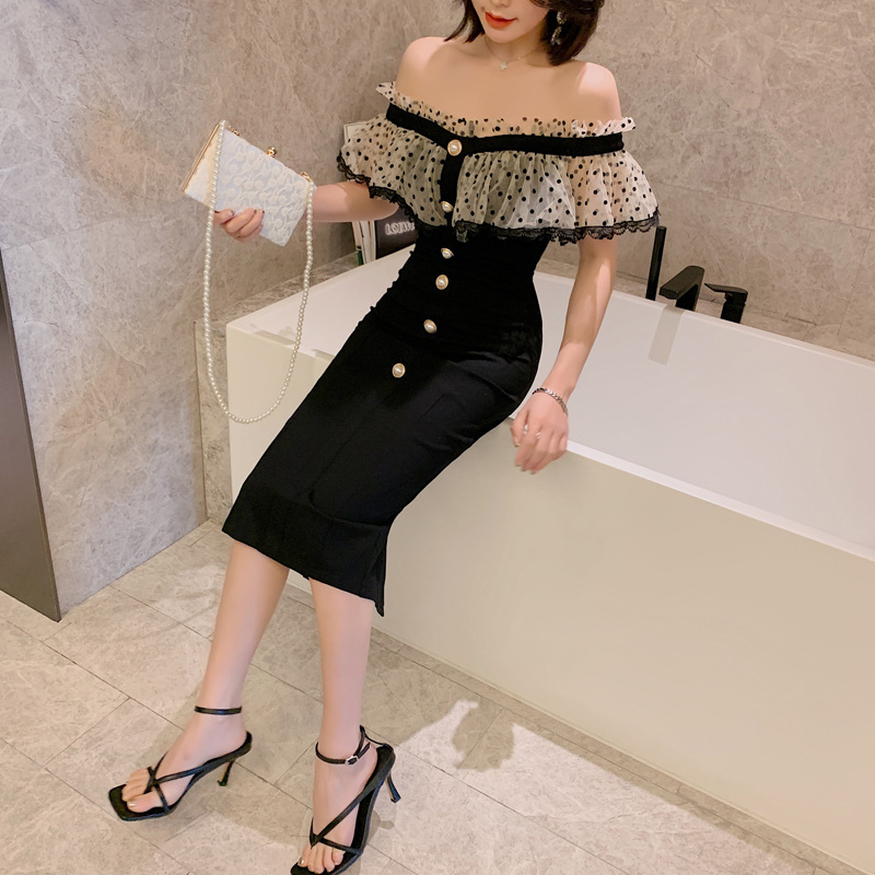ZY·HT Dress skirt 2020 summer new women's one-line neck strapless stitching ruffled slim dress 3870