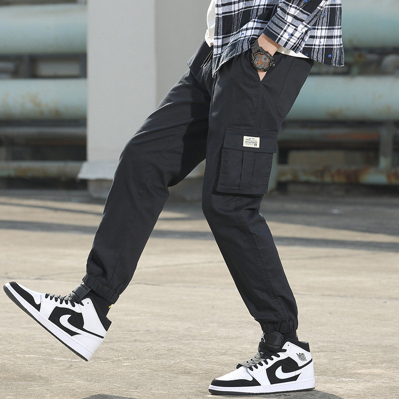 MINGJUNBAO Overalls men's autumn pure cotton multi-pocket tied sports pants men's wholesale youth