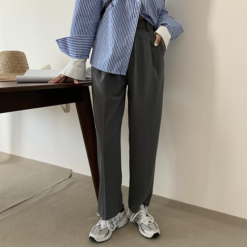 Hooozen Huang Zheng trousers slit drape wide leg casual suit pants women 2020 autumn Korean version