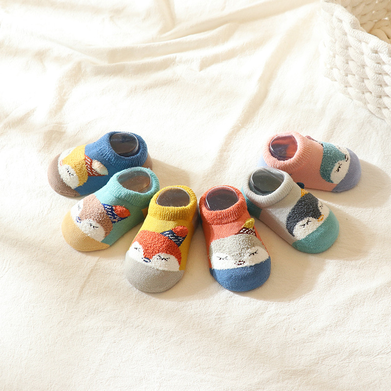 MIANZHIZHI Cotton Zhiqi Autumn and Winter Children's Socks Terry Warm Cartoon Baby Socks Indoor Non