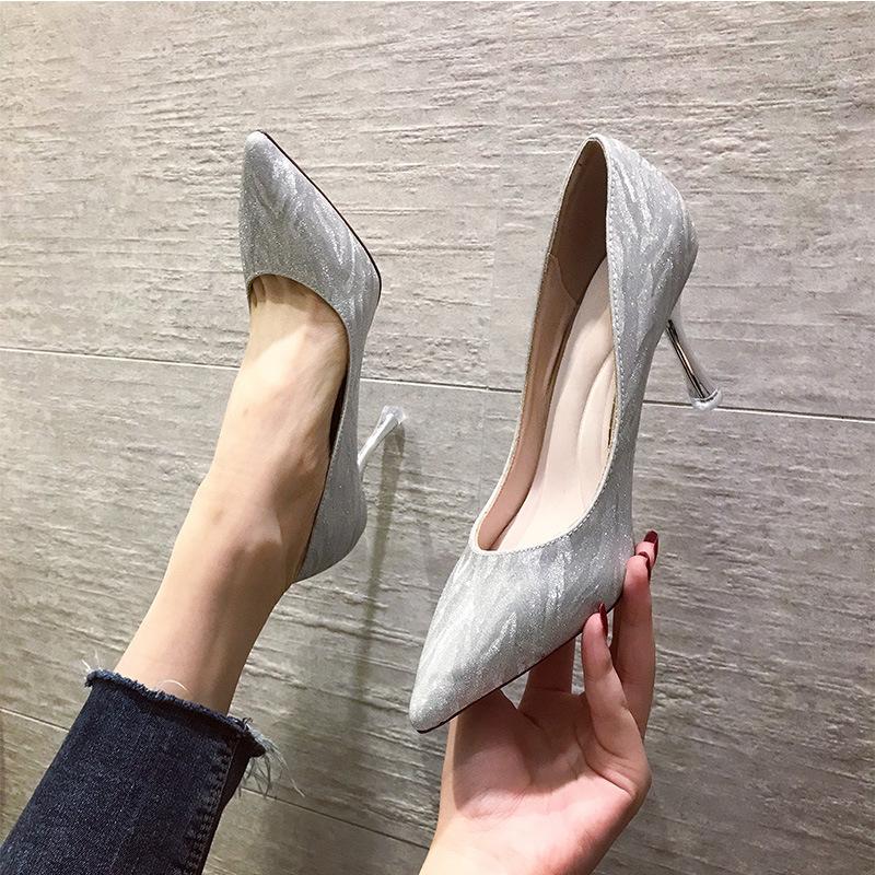 Mu Yindu high heels women 2020 spring new wedding shoes sexy pointed stiletto single shoes Huidong H