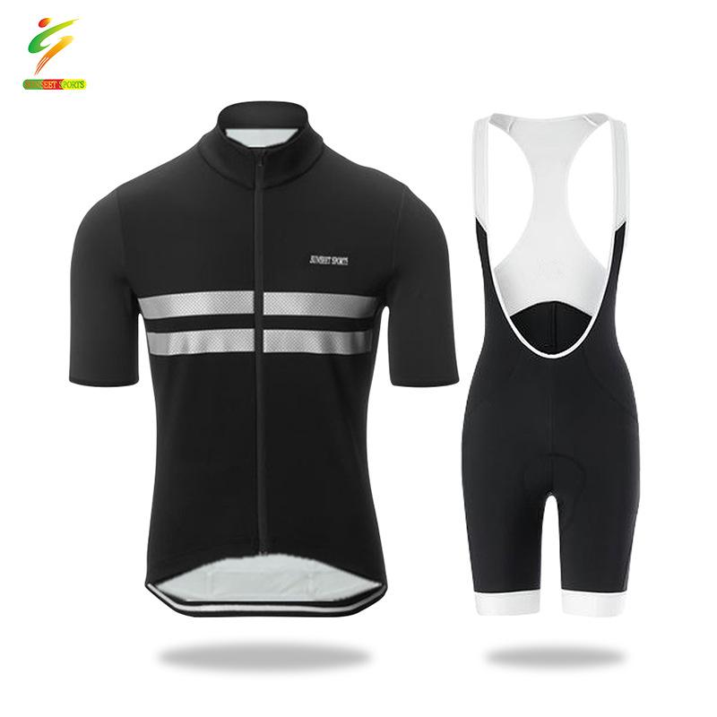SUNSEET SPORTS Summer Men's Cycling Team Cycling Jersey Suit, Short Sleeve Top, Strap Cushion Short