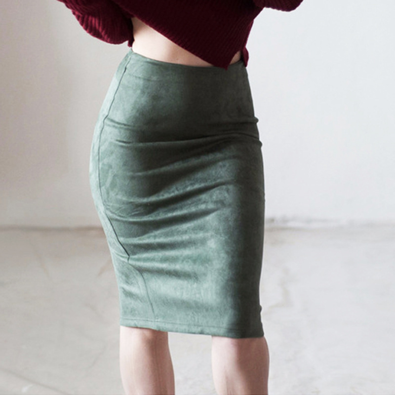 Suede skirt solid color split deerskin velvet skirt high waist bag hip was thin and versatile skirt