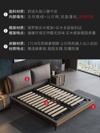 Shangmei giường  Nordic hiện đại tối giản lớp đầu tiên bọc da giường ngủ chính giường cưới trong sán