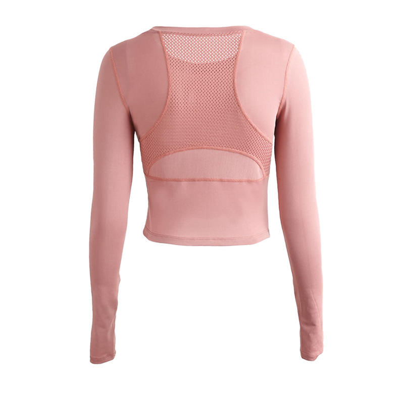 SHADIMAN New tight short sports T-shirt quick dry Breathable sexy long sleeve Yoga Top Women's net