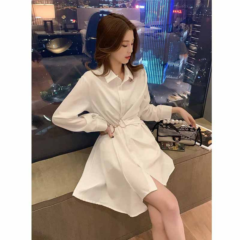 Temperament mid-length irregular shirt dress female 2020 autumn new Polo collar white design skirt