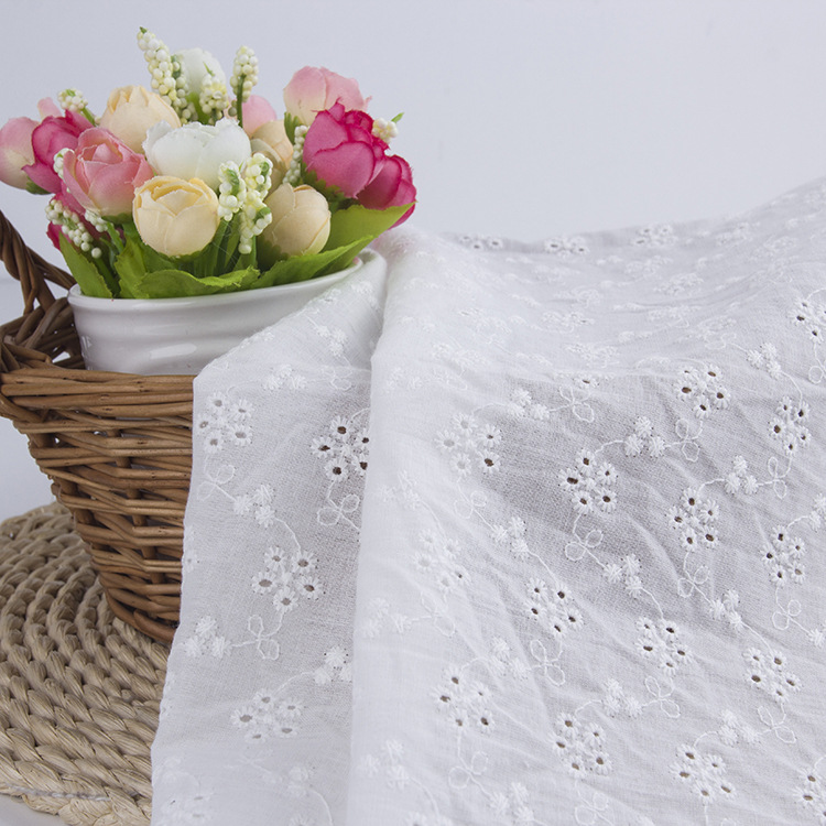 LUYI Fashion all-cotton computerized embroidered fabrics, perforated embroidery, women's dress embr