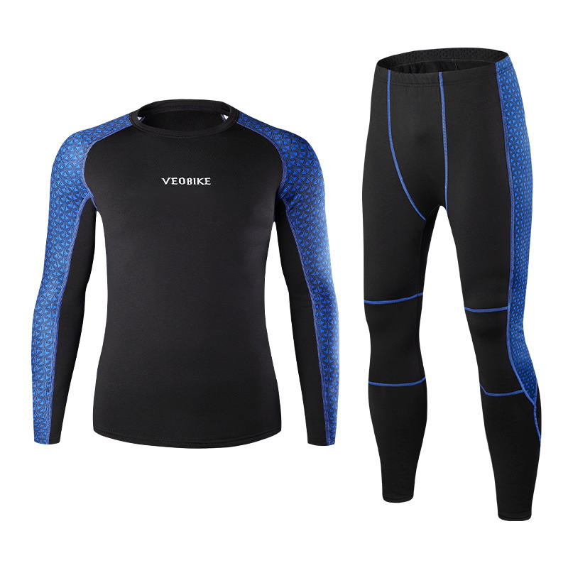 Veobike Autumn and winter outdoor sports thermal underwear suit men's thickened fleece function