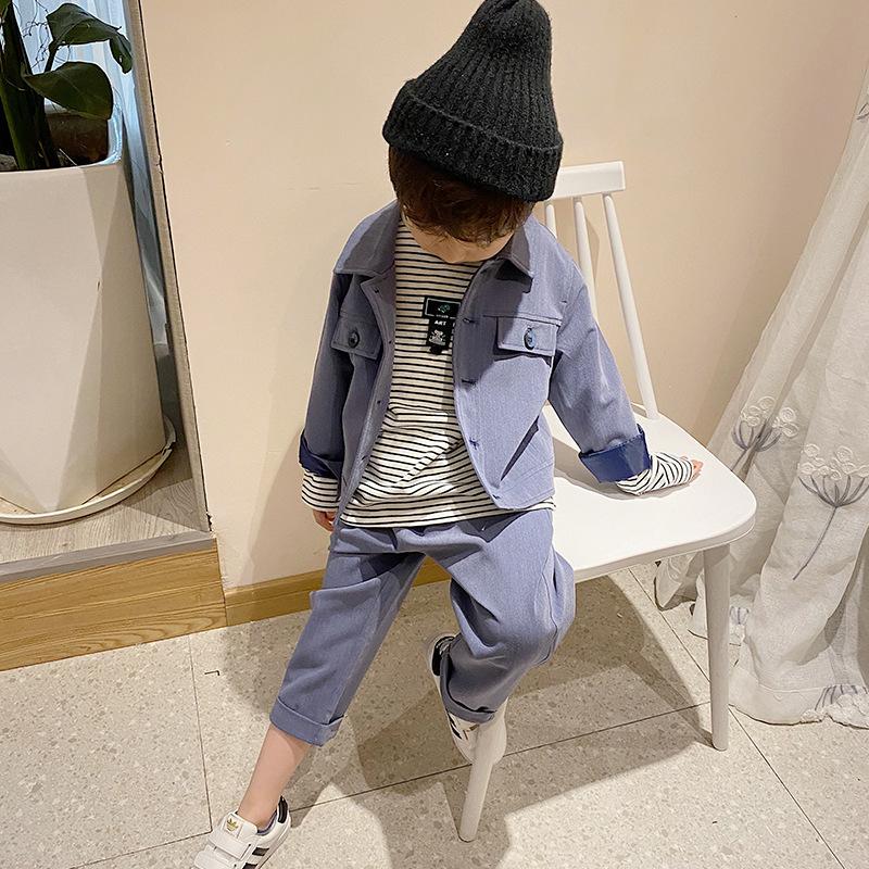 YHZG Boys children's suit 2020 autumn Korean casual small suit fashion Western solid color two-piec