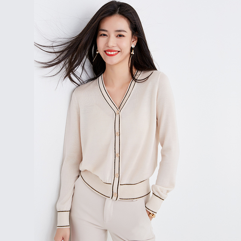 MEIYI 2020 spring women's new top contrast color short coat women's thin V-neck sweater loose smal