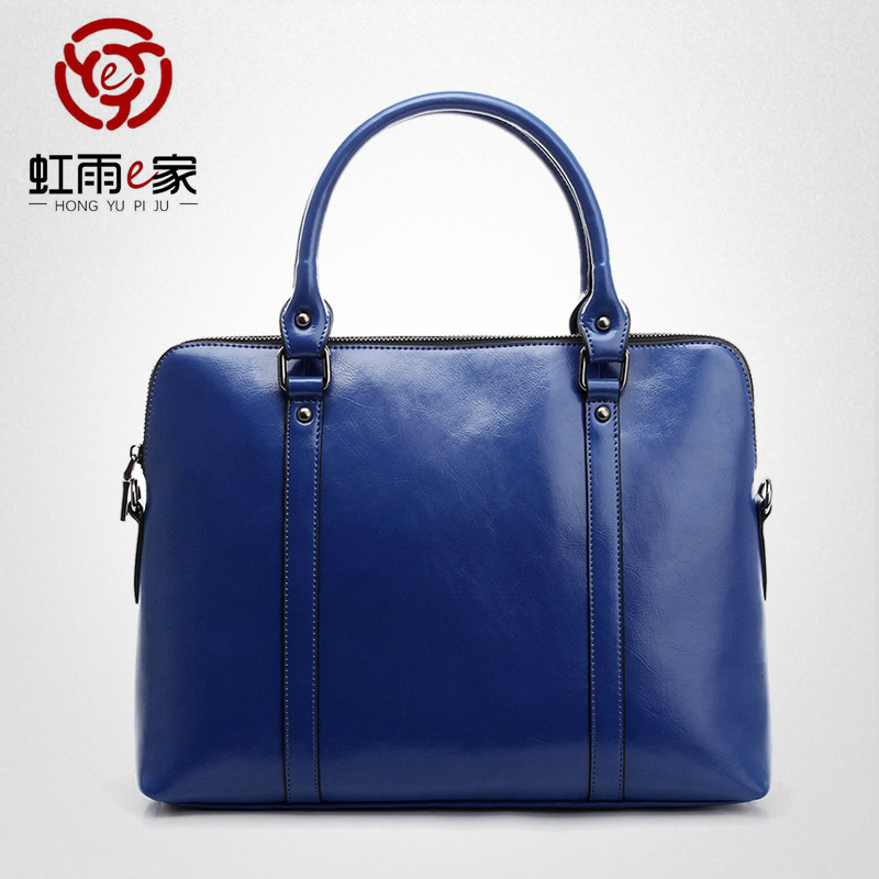 New leather simple crossbite large capacity bag business women's bag women's briefcase 14 inch Lap