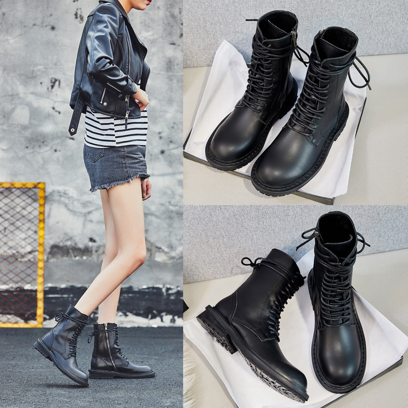 Ann Martin boots women's British style short boots 2020 autumn and winter new women's shoes leathe