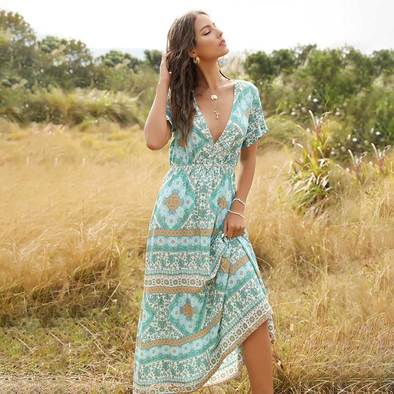 CAUSEY Summer 2020 Bohemian Fashion Print Long V-neck dress