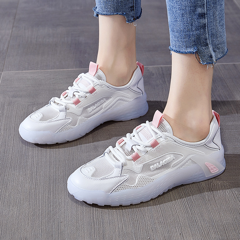 FENGZU Leather sneakers women 2020 summer wild ins tide mesh thin breathable running white shoes