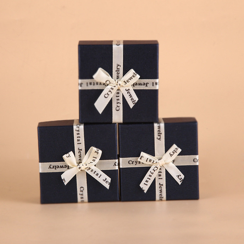 Creative Gift Box Bowknot Jewelry Box Square Jewelry Packaging Bracelet Box Paper Packaging Box