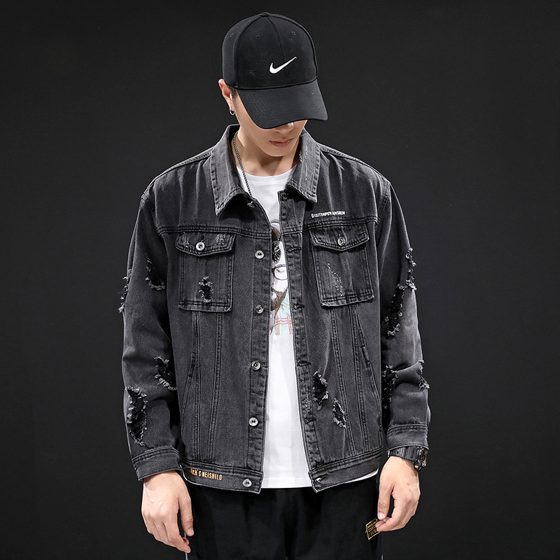 LANGCHENG Japanese denim jacket men's autumn new style black trend youth self-cultivation handsome