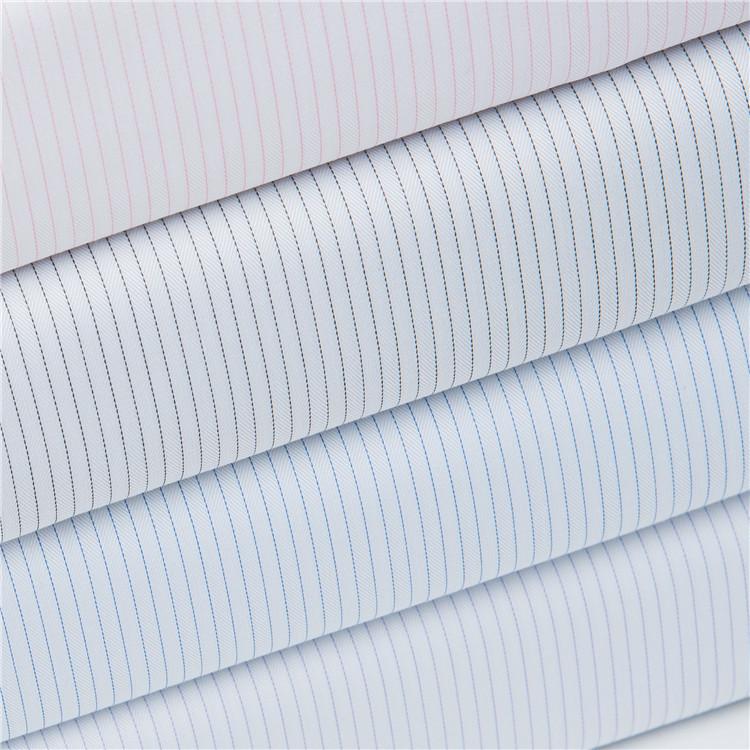 Spot bamboo pulp and viscose fiber blended yarn-dyed non-iron shirt fabric Jacquard striped shirt fa