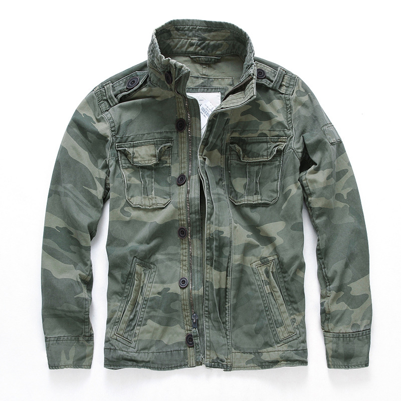 YINGLONG New casual solid color men's jacket sports camouflage denim jacket men's cross-border who