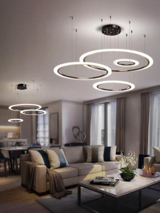 Đèn treo trần Đèn chùm phòng khách đơn giản không khí hiện đại hộ gia đình LED cá tính sáng tạo nhà