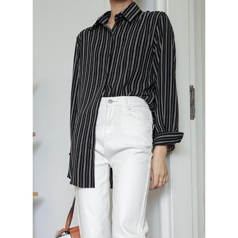 GIYU Loose striped shirt women's new autumn 2020 Korean mid long shirt long sleeve outer design top