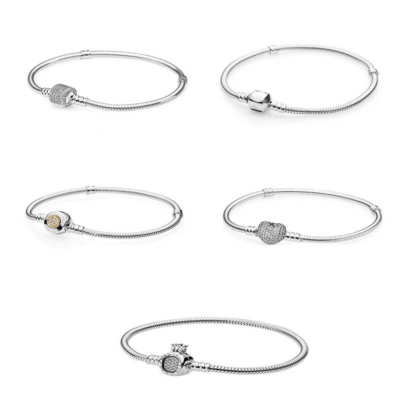 Panjia pure silver S925 love full diamond basic Bracelet women's fashion and simple DIY snake bone