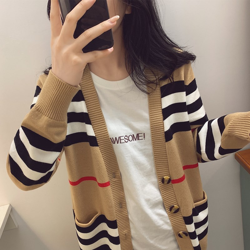 2020 autumn and winter new striped sweater coat women's cashmere cardigan women's mid-length V-nec