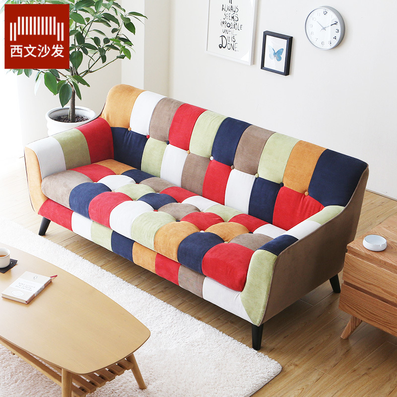 XIWEN Fabric sofa living room combination simple leisure three person furniture lazy sofa manufactur
