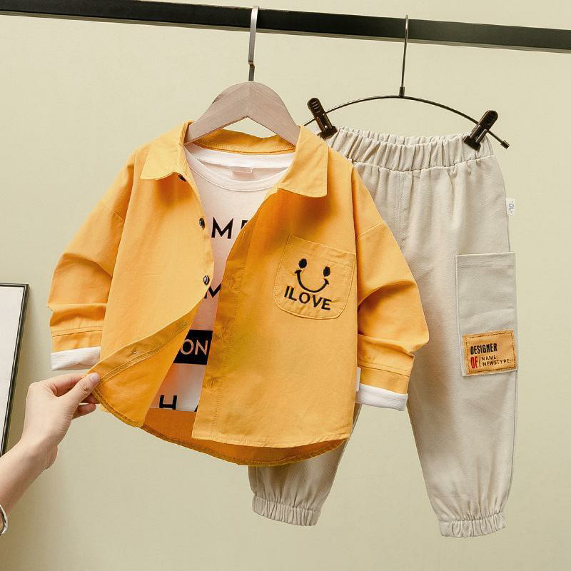 Boys' suits, autumn clothes, western style, fashionable children's baby two-piece suits, 2020 chil
