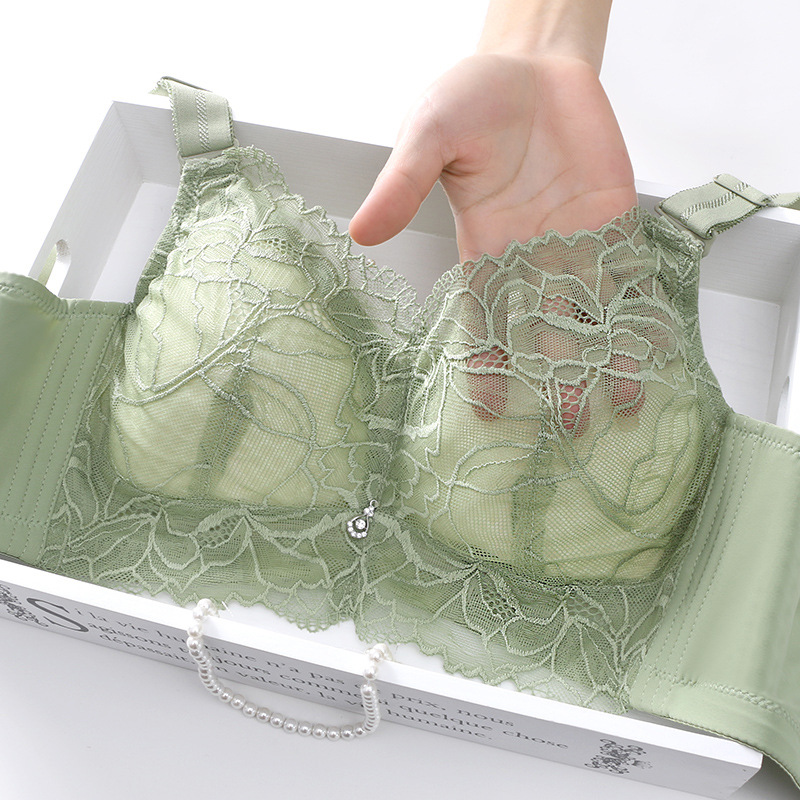 ROUYATING New lace thin seamless bra without steel ring sexy small chest gathered to hold bra adjust