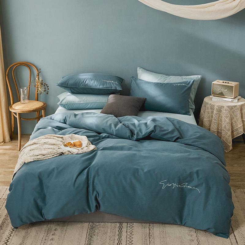Drap khăn trải giường bằng vải bông tinh khiết bộ bốn mảnh thêu đơn giản
