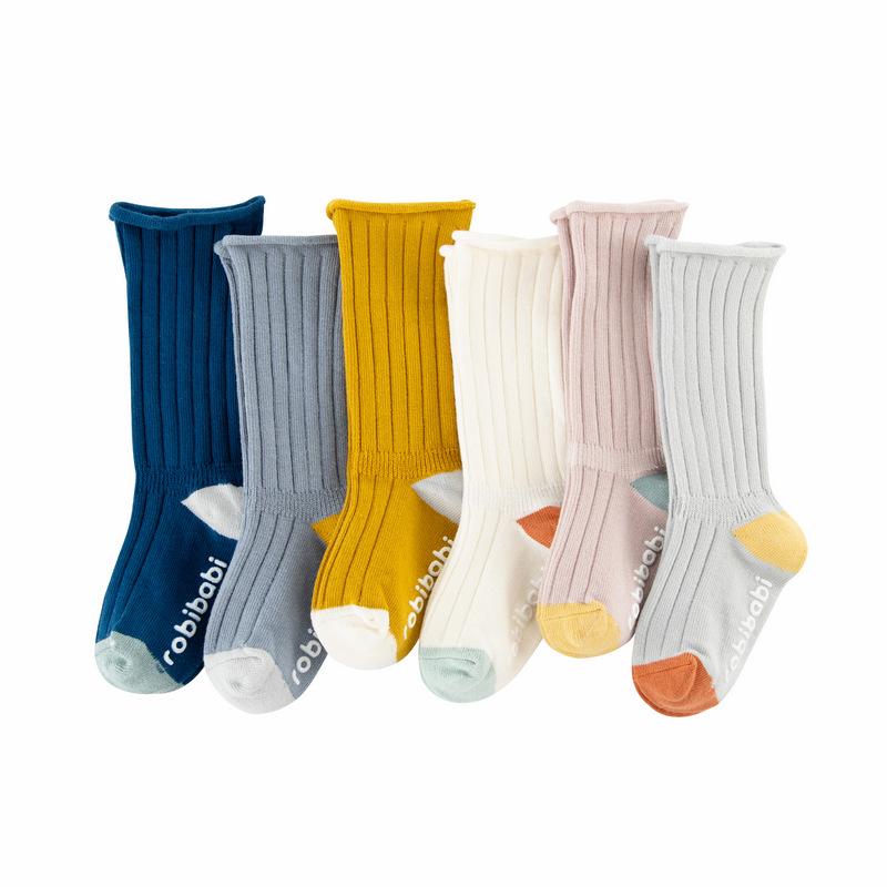 Robibabi 20 Korean version of the vertical stripe high tube loose mouth children's socks baby child