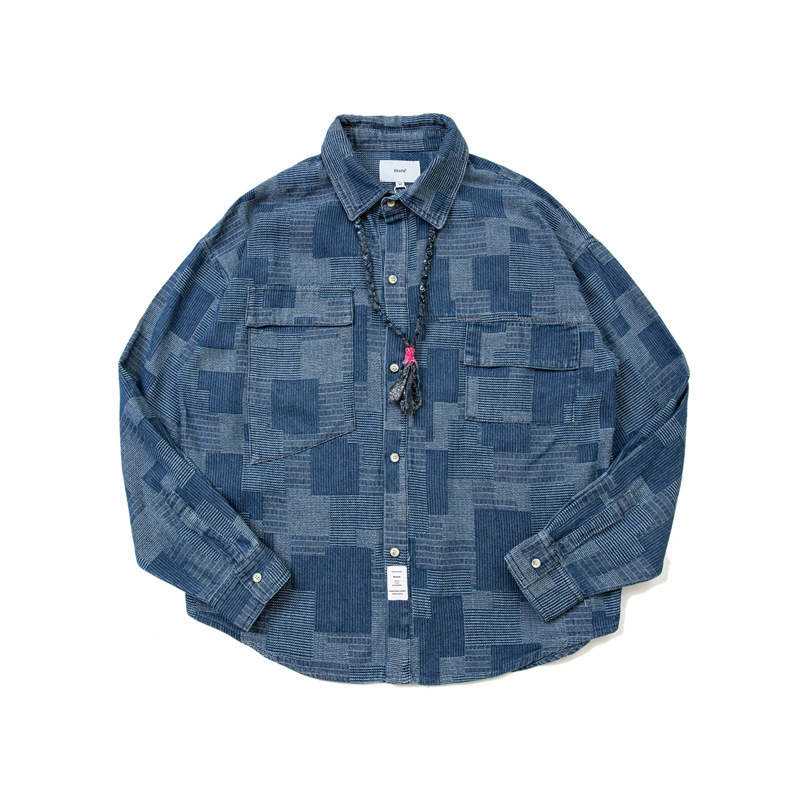 Forn3 20 autumn coat men's shirt Japanese work clothes asymmetric pocket street fashion retro plaid