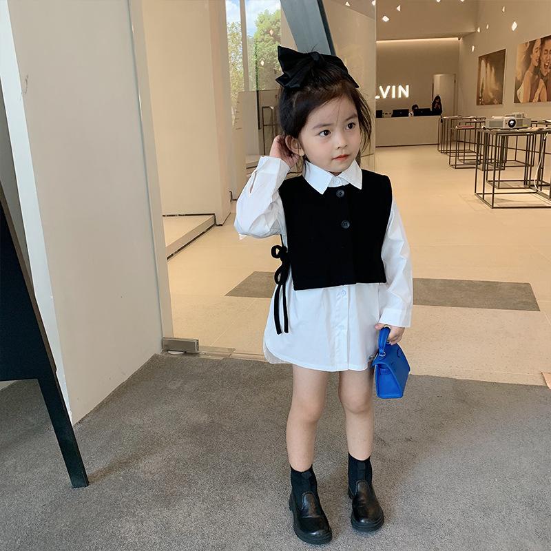 LUGULI Deer Fawn Girls' Suit Children's Wear 2020 New Autumn Two-piece Baby Western Style Shirt Ve