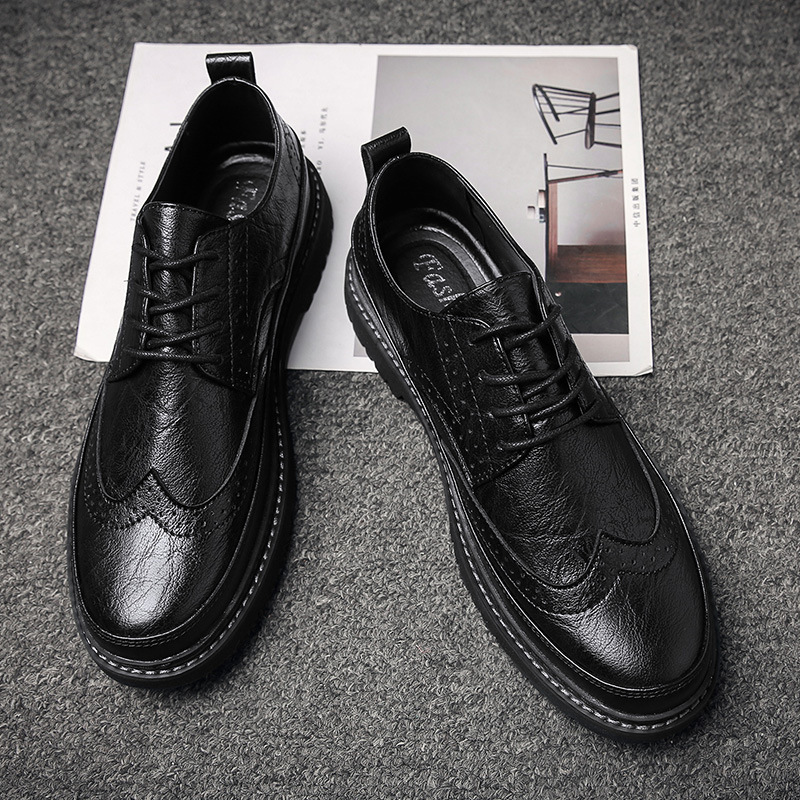 CHENGHE Autumn new style brogue casual leather shoes men business formal wear men's single shoes ro