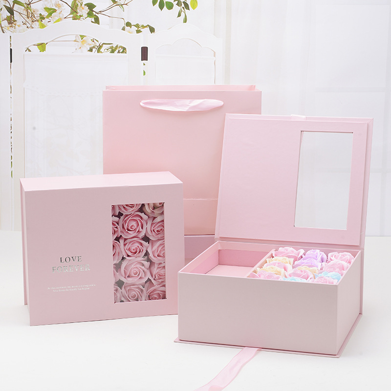 ZHENEN Valentine's Day Surprise Flower Gift Box Customized Wedding Companion Hand Gift Window Rose