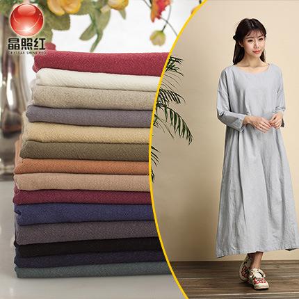 JINGZHAOHONG Slub linen solid color hemp crepe cloth clothing ethnic style fabric thick linen summer