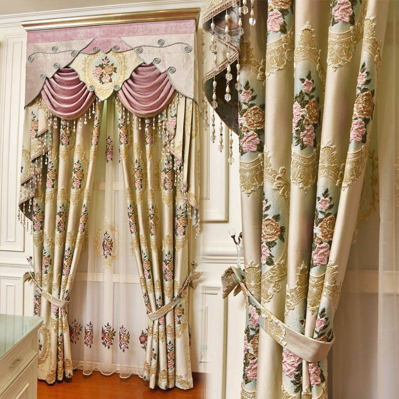 YINGBIN Curtain fabric finished custom shading living room bedroom European style curtains New embos