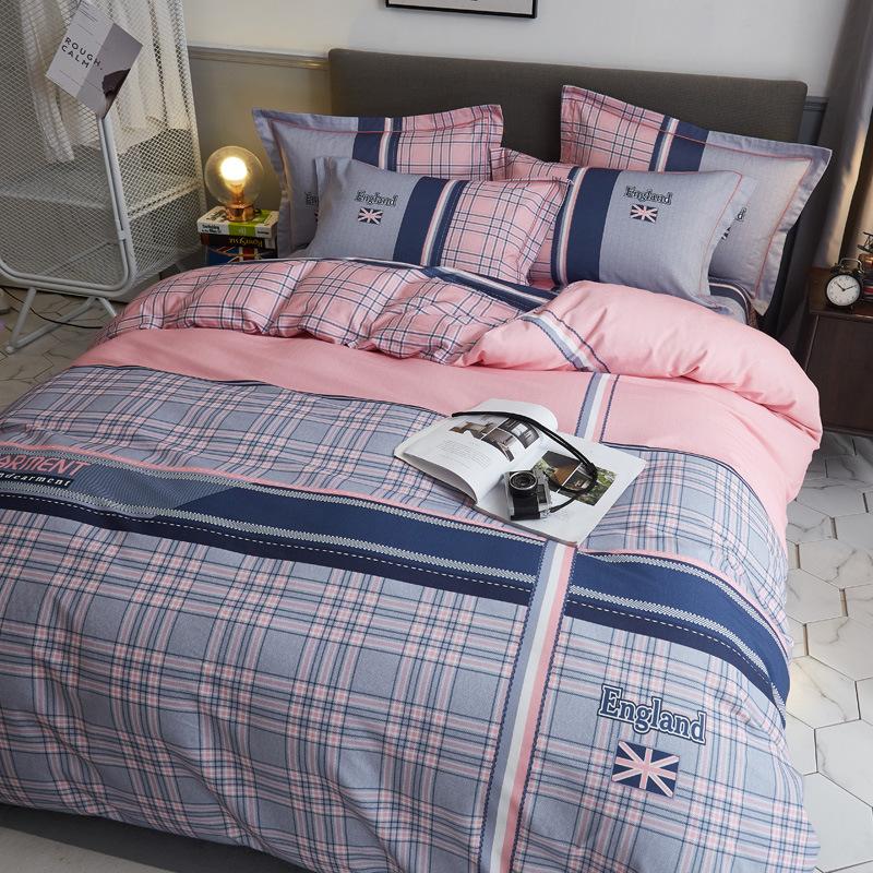 Bộ Drap trải giường bốn mảnh len cotton dày dặn mới