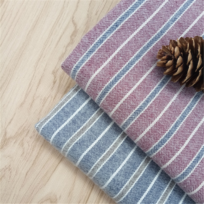 Autumn and winter 21s polyester-cotton yarn-dyed blended fabric tc herringbone diagonal fleece strip