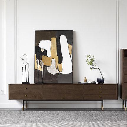 Cana Kệ Tivi  Nordic retro gỗ rắn tủ tivi gia đình màu óc chó Tủ tivi phòng khách nội thất phong các