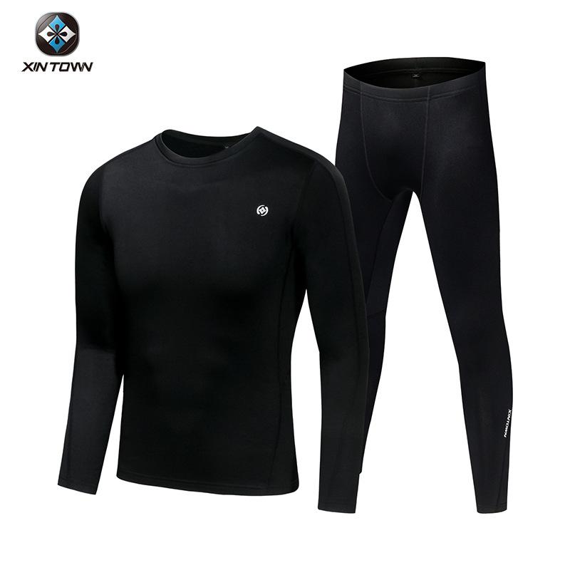 XINTOWN Sports thermal underwear men's fall/winter fleece thermal underwear ski running fitness cyc