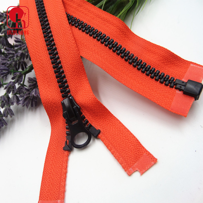 QIKAI No. 5 resin rubber teeth dynamic teeth open end zipper customization 5# color clothing down ja