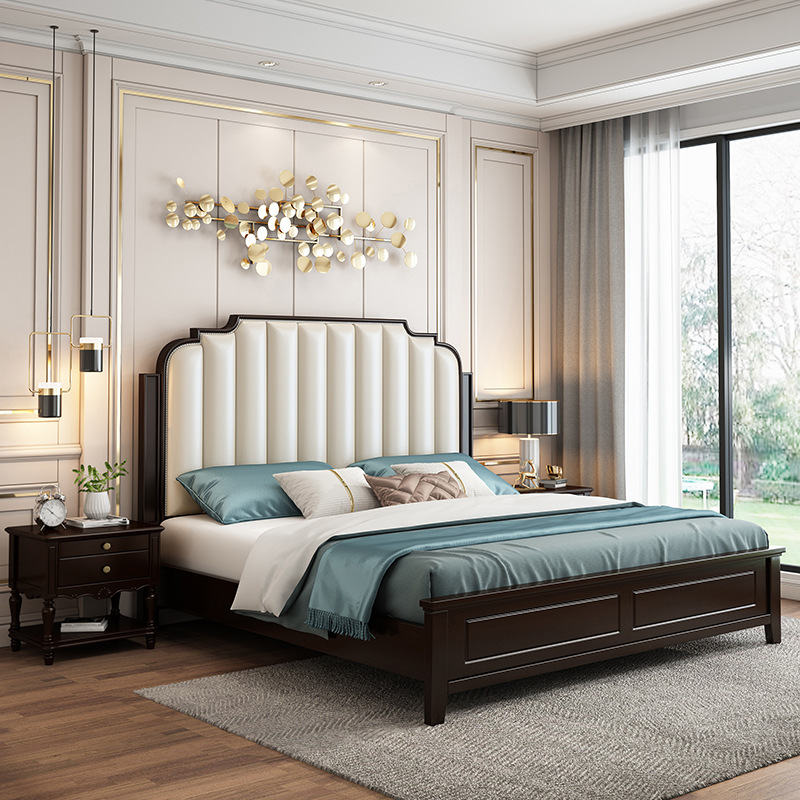 MAIDILUN Mediron American furniture rubber wood solid wood bed 1.5m 1.8m double princess bed master
