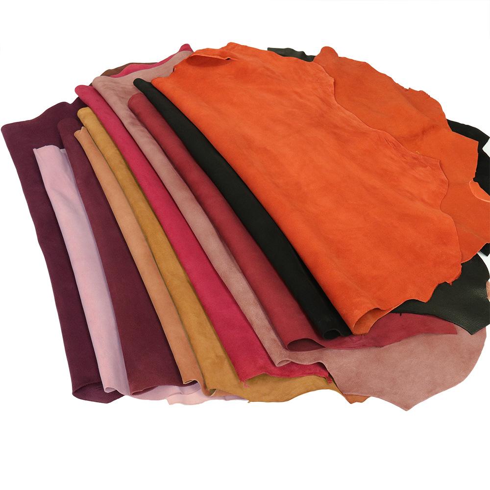 QUANYI Black color cashmere suede sheepskin leather suede cashmere reverse cashmere leather suede ca