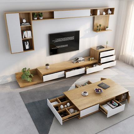 Kệ Tivi  Tất cả gỗ nguyên khối bàn cà phê tủ TV phong cách Bắc Âu hiện đại tối giản kết hợp nền tủ â