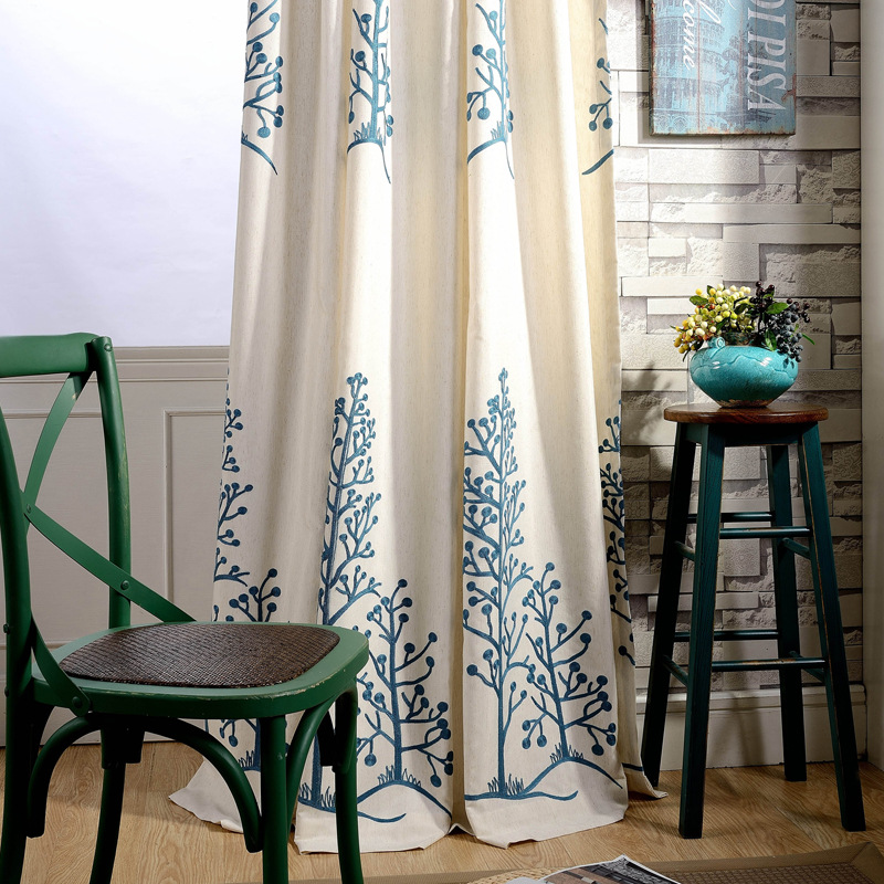 QIANHUANG Curtain Fabric Modern Pastoral Chinese Curtain Cotton Linen Embroidered Curtain Window Scr